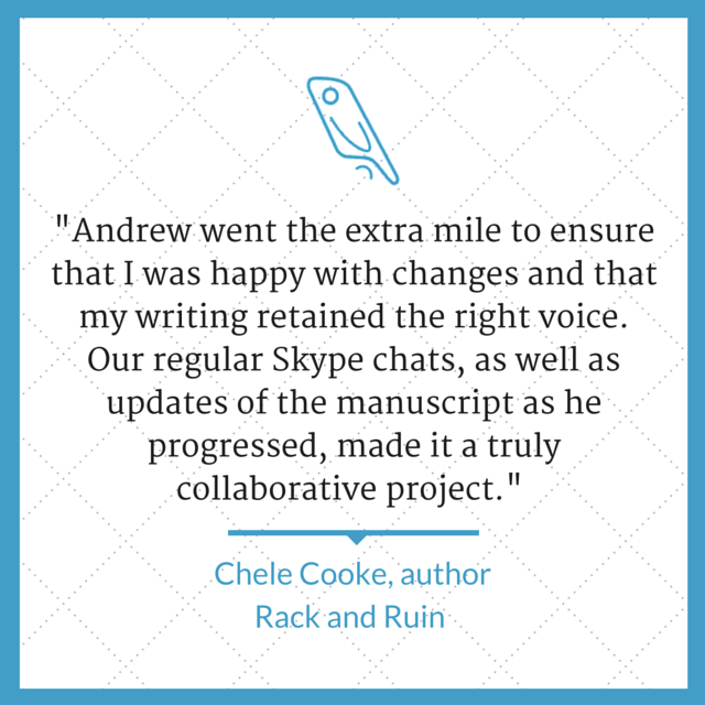 Author editor Andrew Lowe Chele Cooke