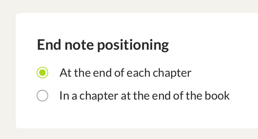 End note positioning for EPUB ebooks: at the end of the chapter or the book