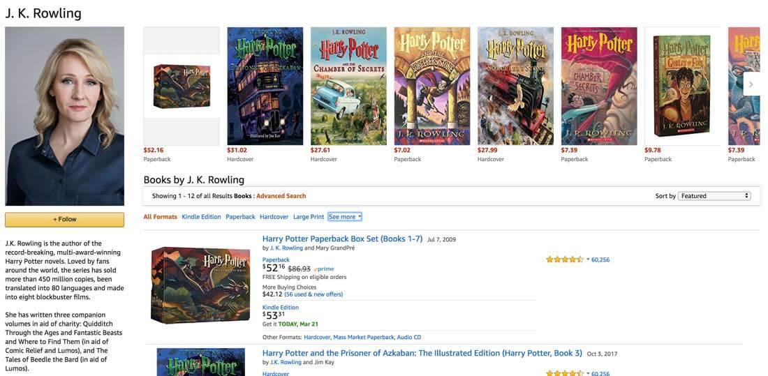 Publicity Amazon Page JK Rowling