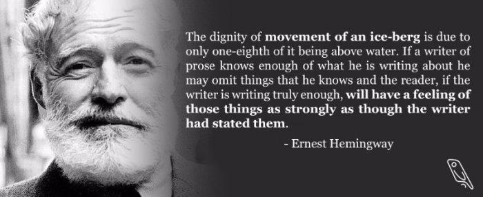 Hemingway iceberg quotation building characters