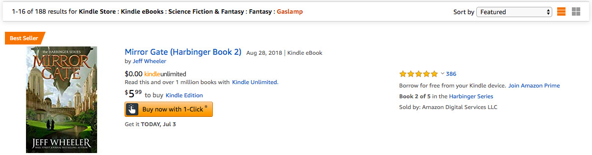 Jeff Wheeler's Mirror Gate is the #1 Best Seller in Gaslamp Fantasy
